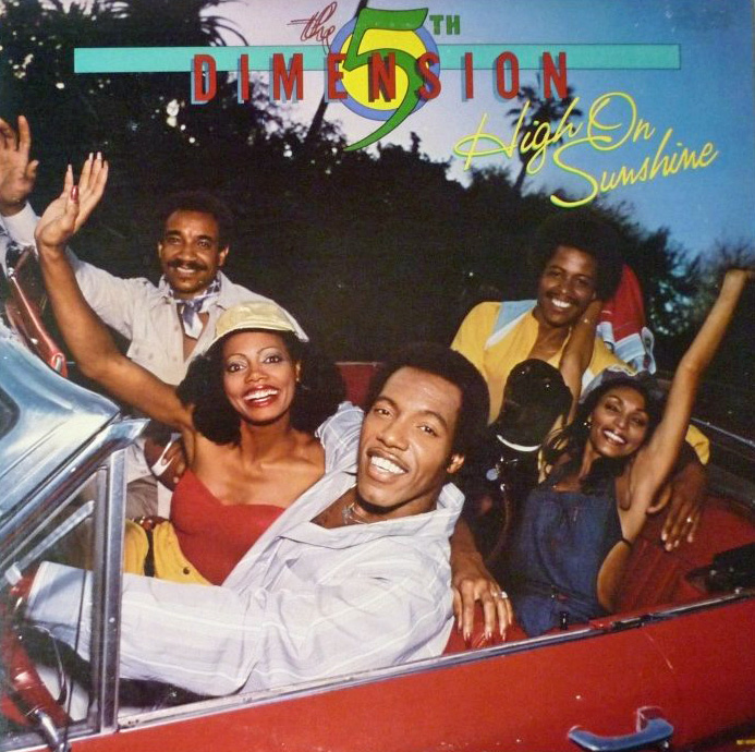 5th Dimension - High On Sunshine (Motown, 1978). Photography by Elliot Gilbert.  *Band photographed in Gilbert's car.
