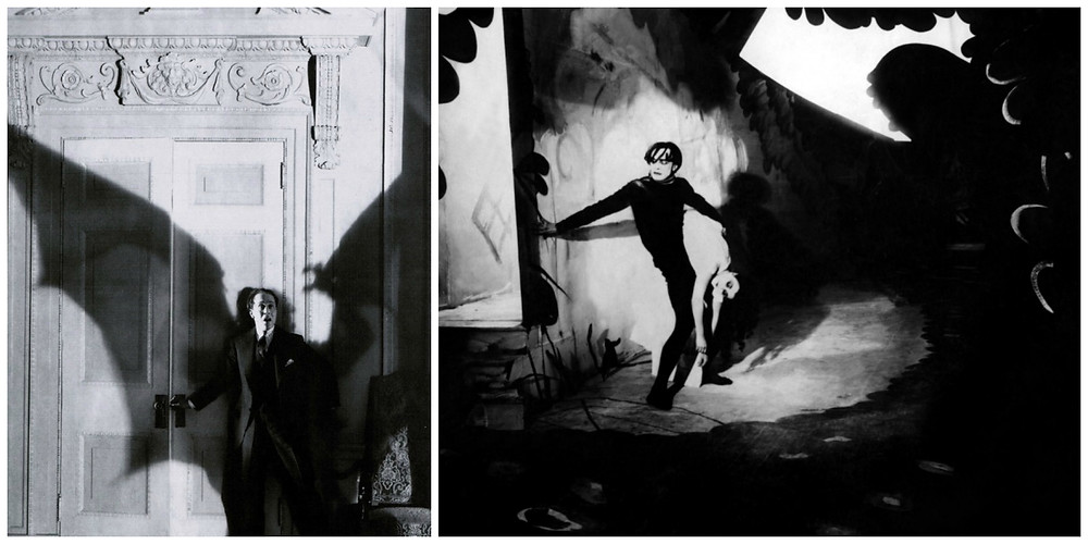 Stills from The Sorrows of Satan and The Cabinet of Dr. Caligari