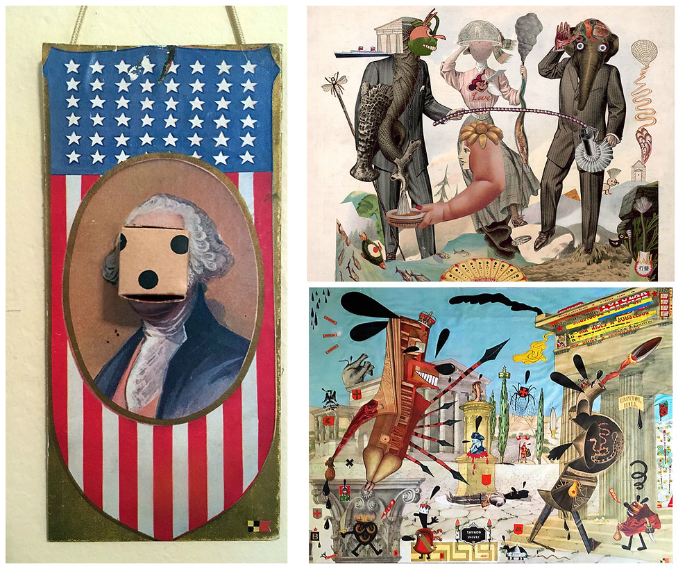 Collages by Lou Beach: (Left) The Gamble, (top right) World of Men A, (bottom right) Poltroons on Parade (Pigeon! Pigeon! Pigeon!)