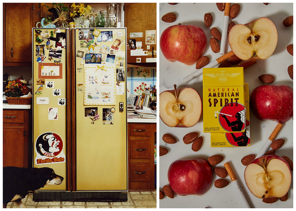 Refrigerator and Apples, Almonds, American Spirit by Roe Ethridge.
