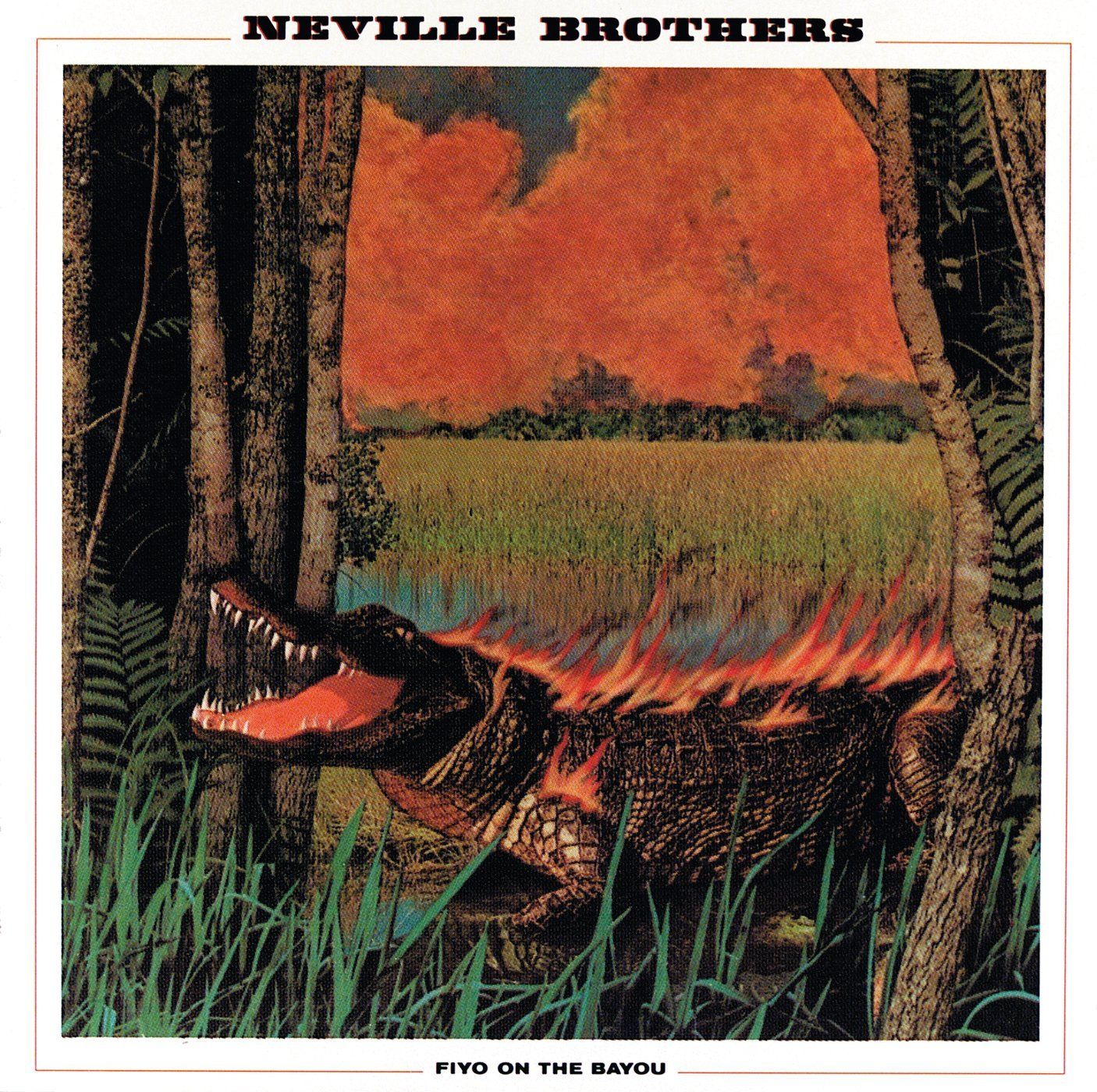 The Neville Brothers - Fiyo On The Bayou (A&M, 1981). Cover art by Lou Beach.