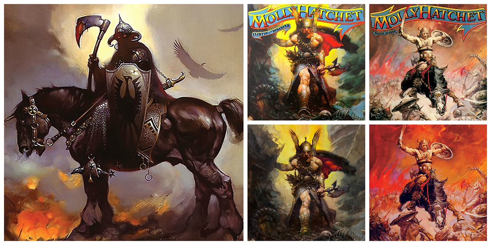 Molly Hatchet - Flirtin' with Disaster (Epic, 1979) and Beatin' the Odds (Epic, 1980). Cover art by Frank Frazetta.