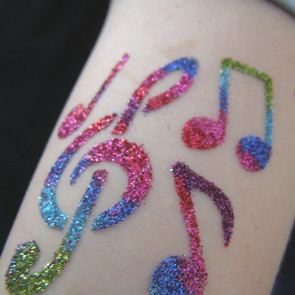 Musical notes on arm