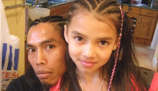 Ella and Dad 1/2 head braids and a hairplait with beads