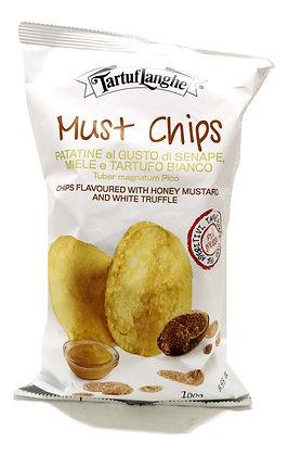 Chips à la moutarde, miel et truffe