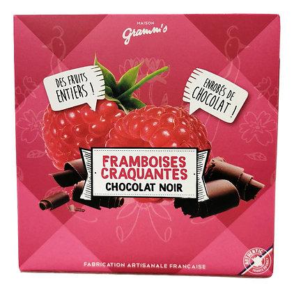 Framboises enrobées de chocolat noir