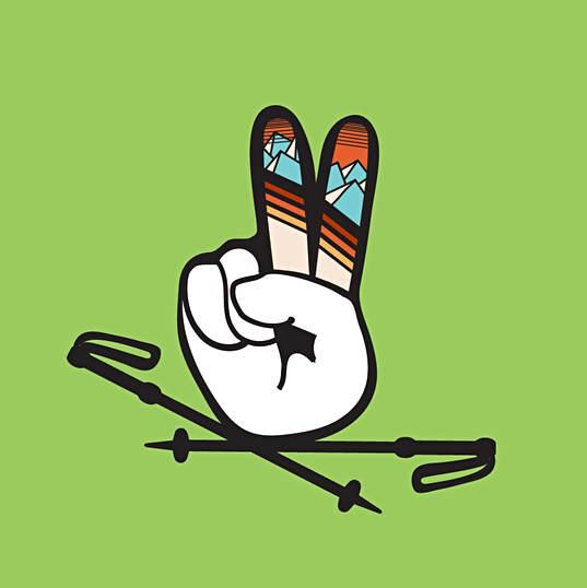 Ski Stoke Peace Sign Illustration
