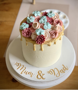 Mum and Dad Flower Cake