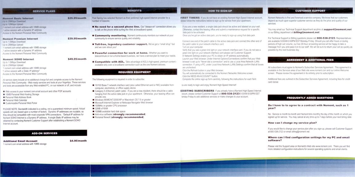 Noment Internet Brochure (Inside)