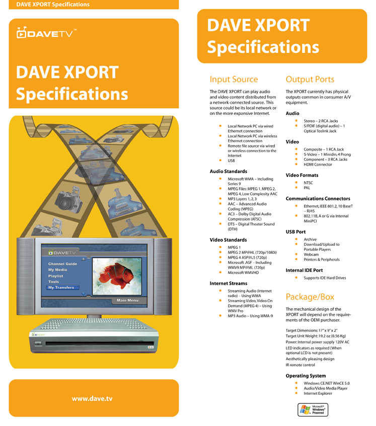 DAVE XPORT Specifications Insert