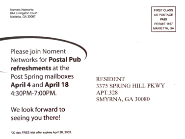 Noment Service Postcard (Back)