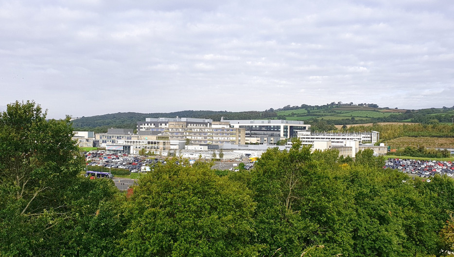 View of Ulster Hospital from Moat Park