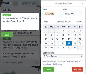 Calendar image Assign due dates and reminders