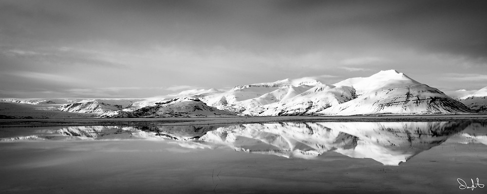 Iceland Landscape with Reflection black and white, southeast
