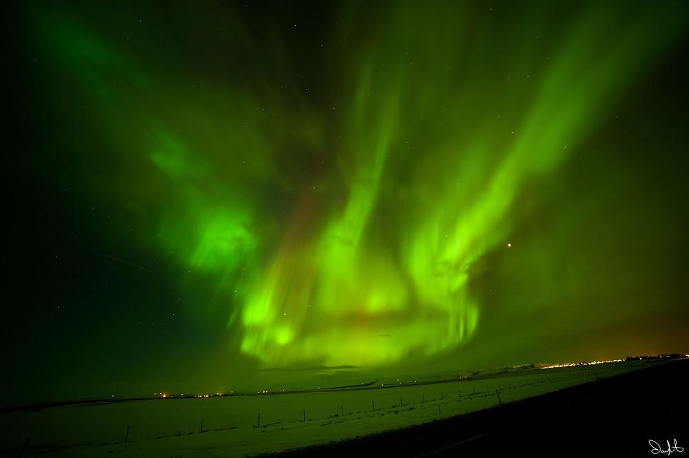 Roadside Aurora, Iceland. Aurora Borealis