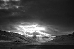 Snowfield with Sun Beams