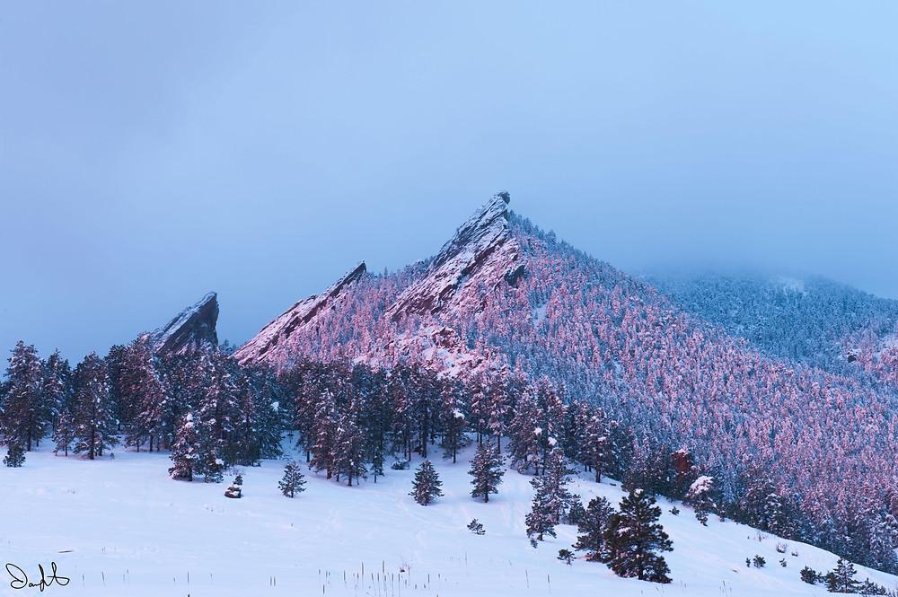 soft pink flatirons Chautauqua park Boulder, Colorado