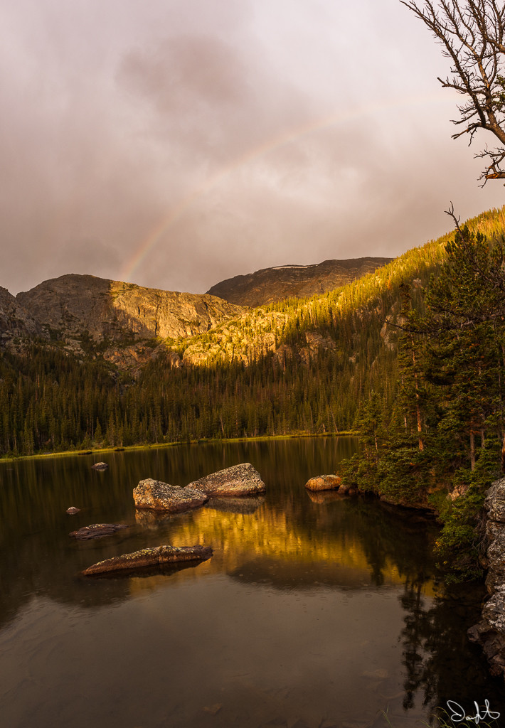 Rock Lake, Rocky Mountain National Park, rainbow