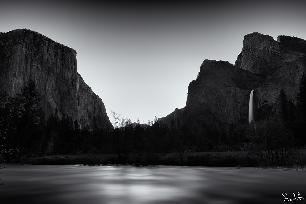 Black and white long exposure image of the Gates of the Valley