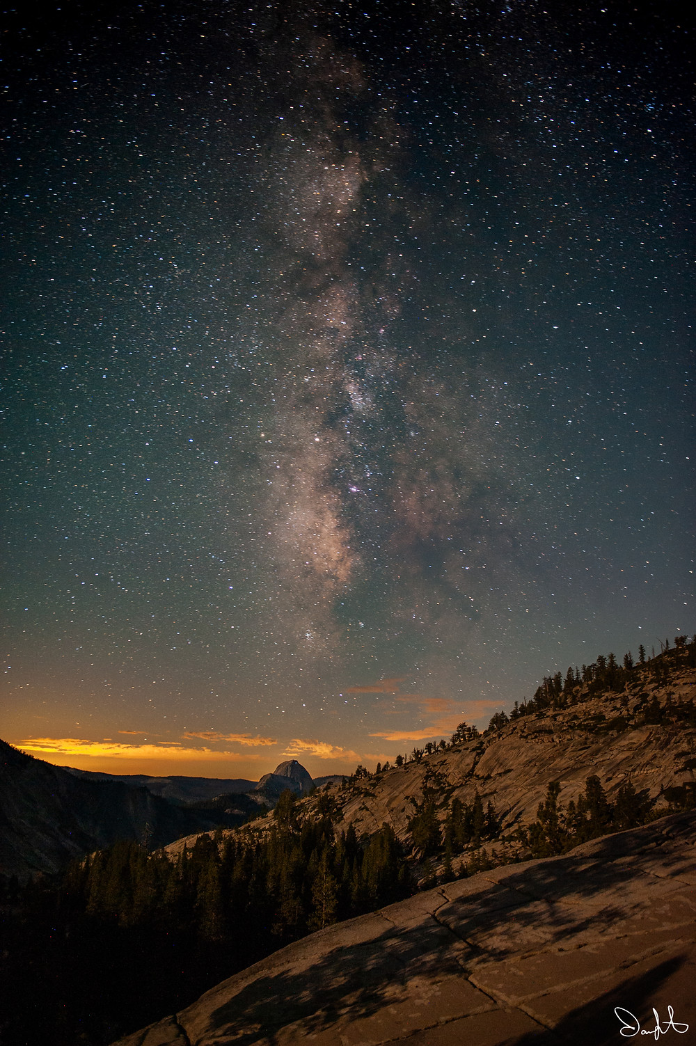 The Milky Way rises above Half Dome. Take from Olmstead Point