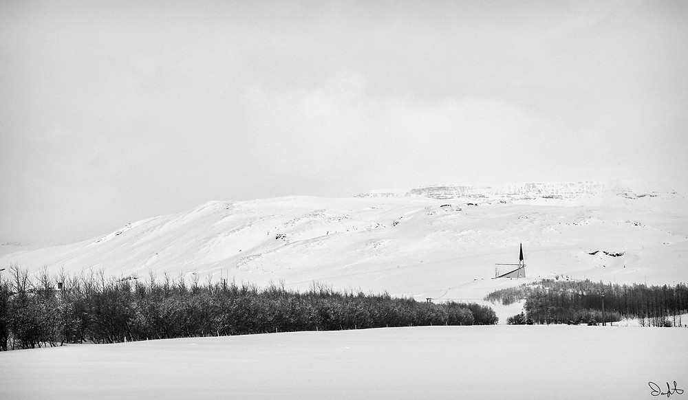Church in the snow, Iceland. Golden Circle