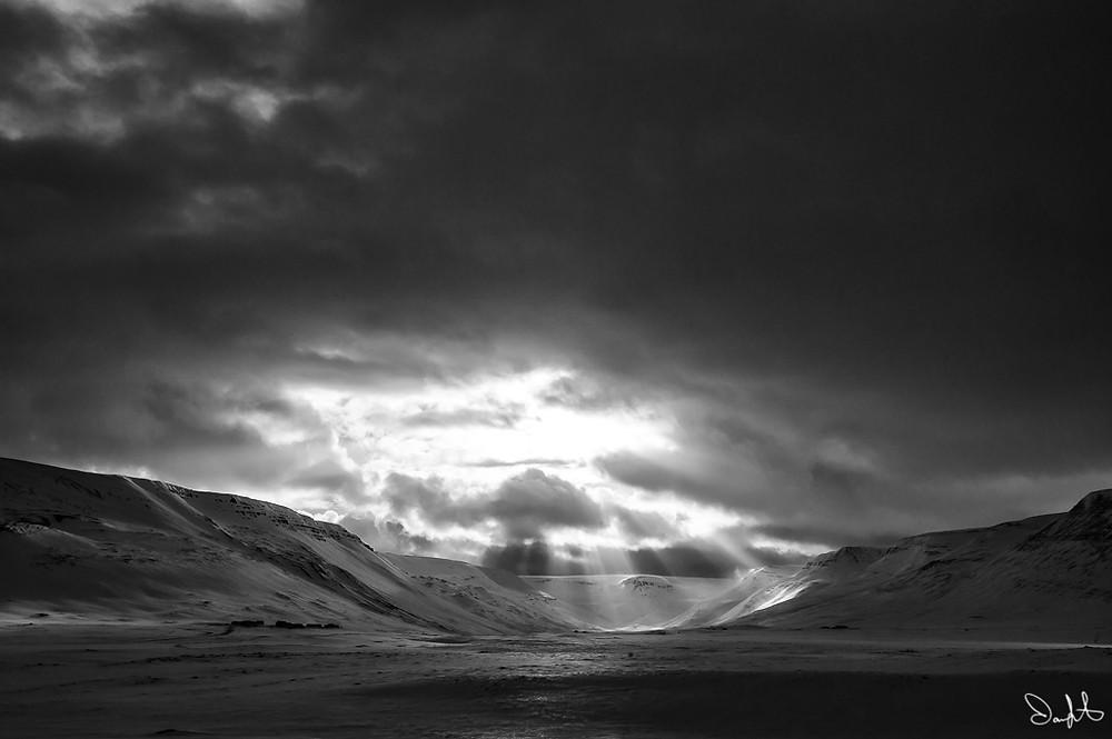 Sun rays, Northern Iceland