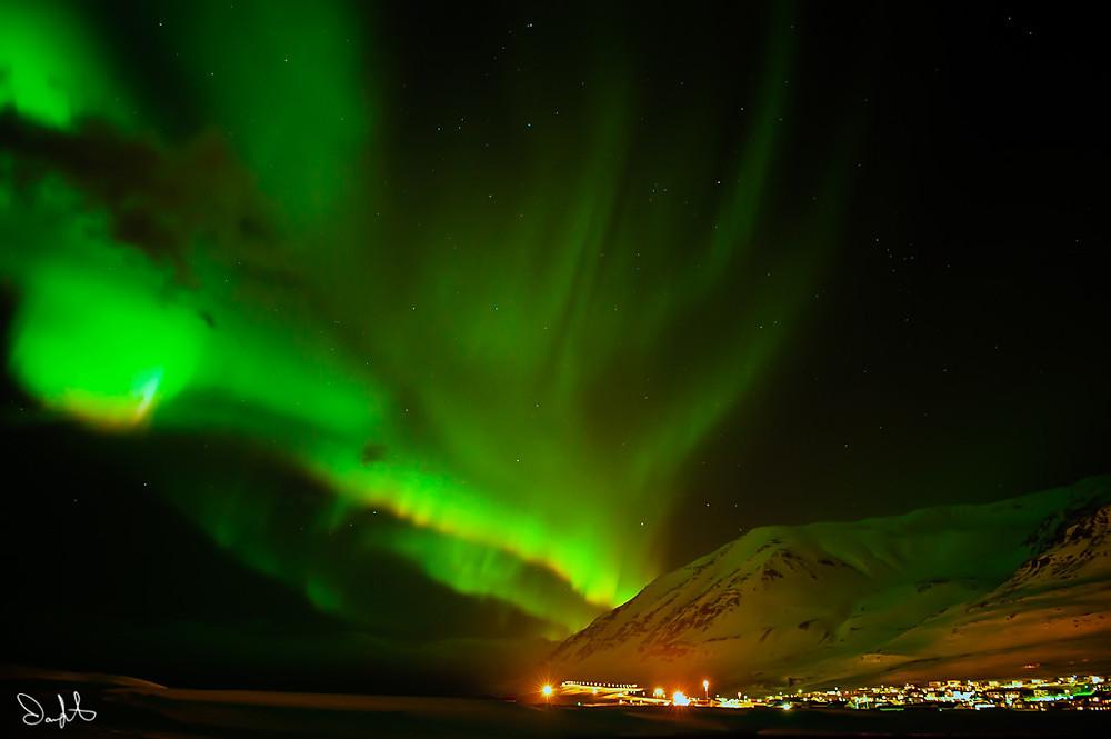 Aurora Borealis above Olafsfjordur, Iceland