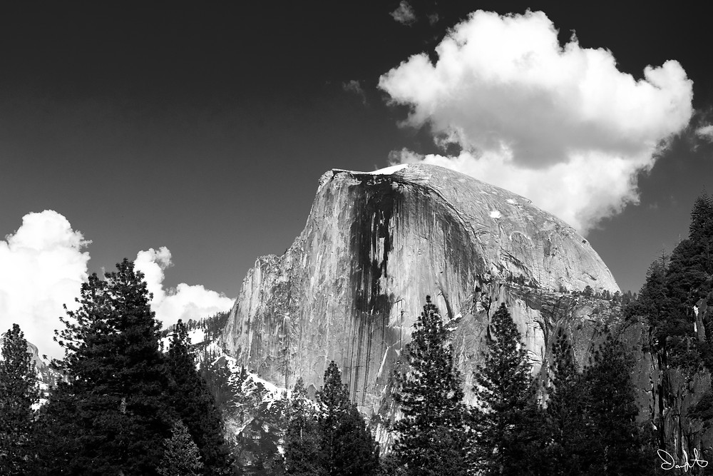 Half Dome taken in spring from along the banks of the Merced River