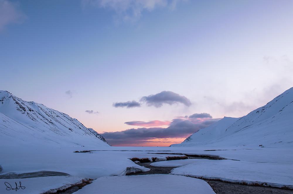 Sunrise over Hedinsfjordur, Iceland