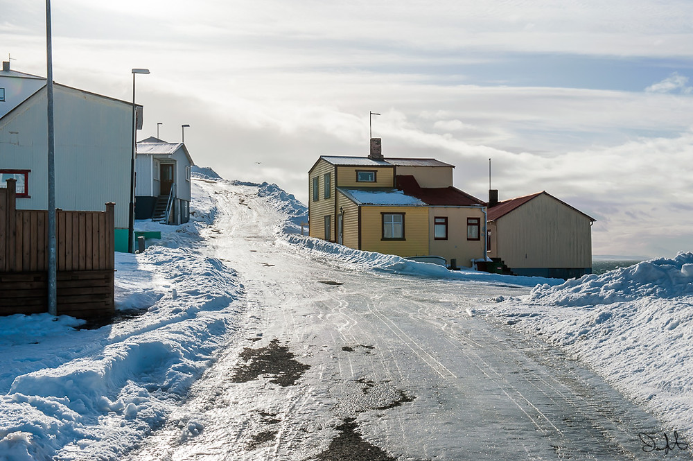Icy road, northern Iceland