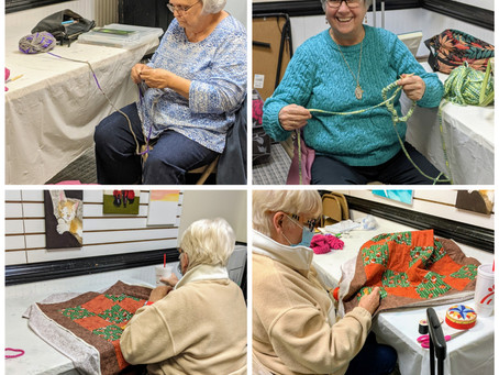 Quilting and Knitting Students