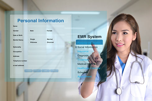Female doctor using electronic medical r