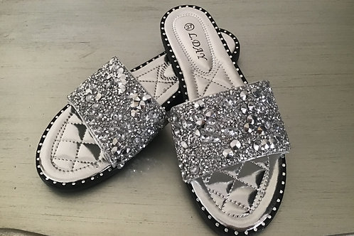 Silver bedazzled sliders