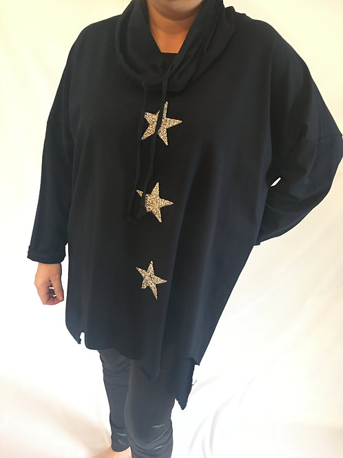 Navy glitter star asymmetrical sweatshirt
