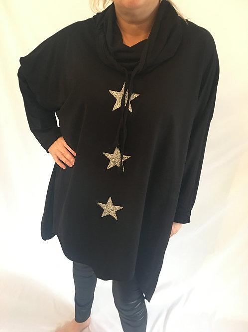 Black glitter star asymmetrical sweatshirt