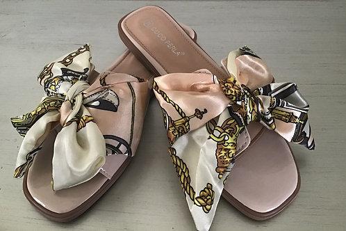 Blush chain print bow sandals