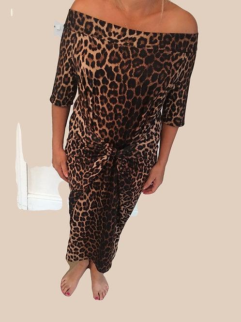 Leopard print off the shoulder parachute dress
