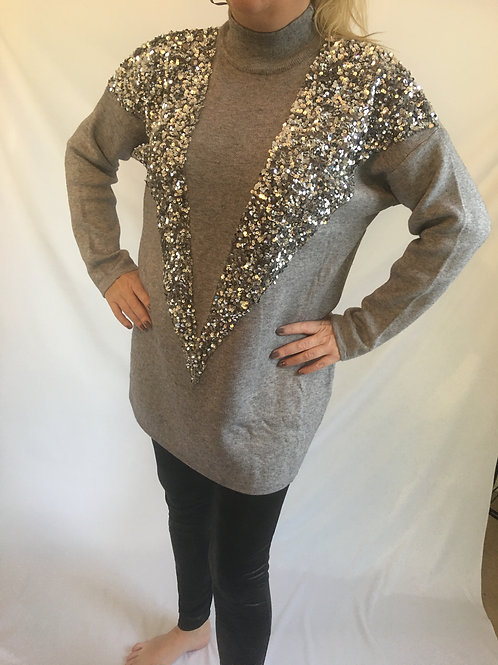 Tabytha sequin V panel jumper
