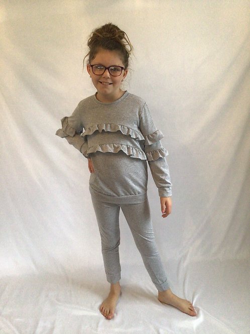 Grey ruffled front and sleeve loungewear