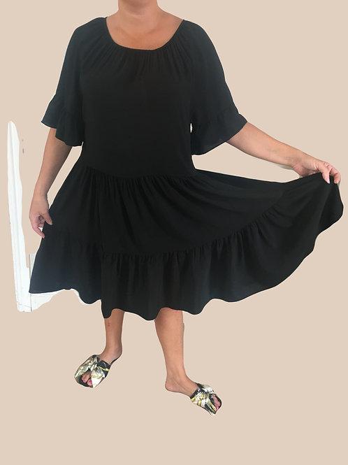 Scoop neck tiered smock dress