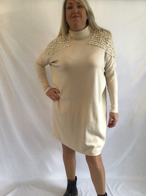 Roll neck pearl woolen jumper dress