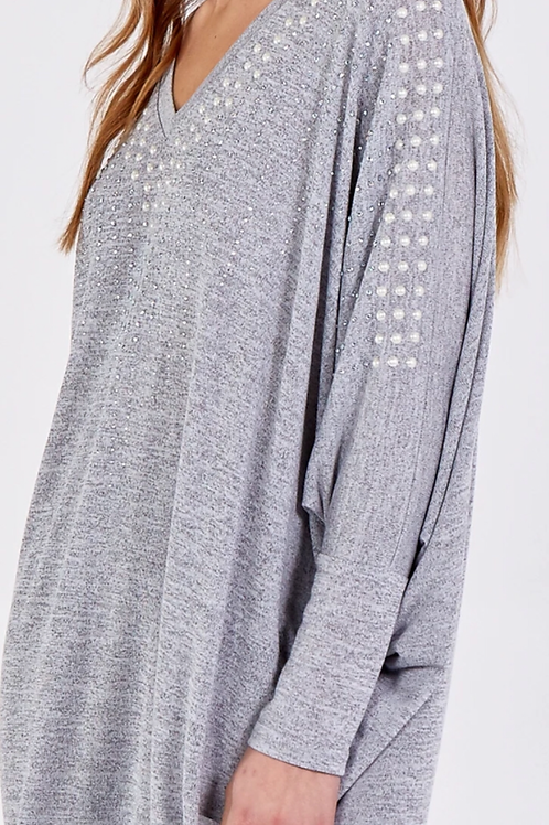 Pearl and diamante embellished batwing top
