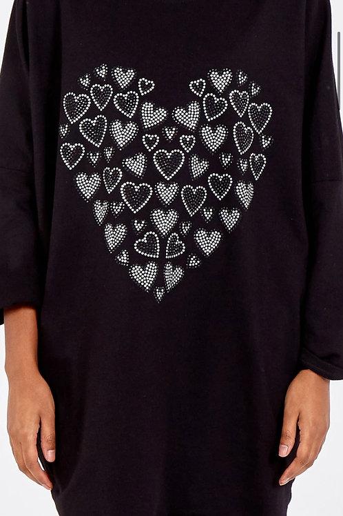 Diamante Heart high/low sweatshirt