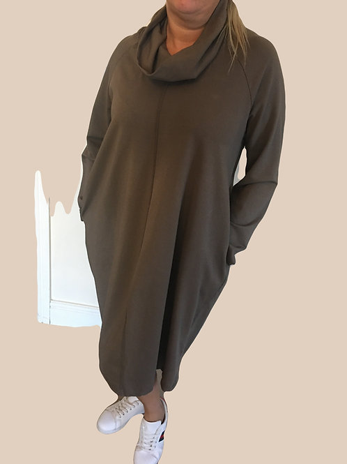 Loose fitting polo jumper dress with roll neck