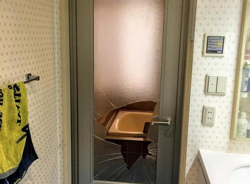 浴室ドアガラス修理