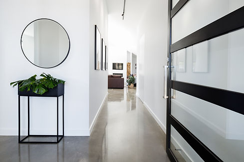 Contemporary home entry hall with polish