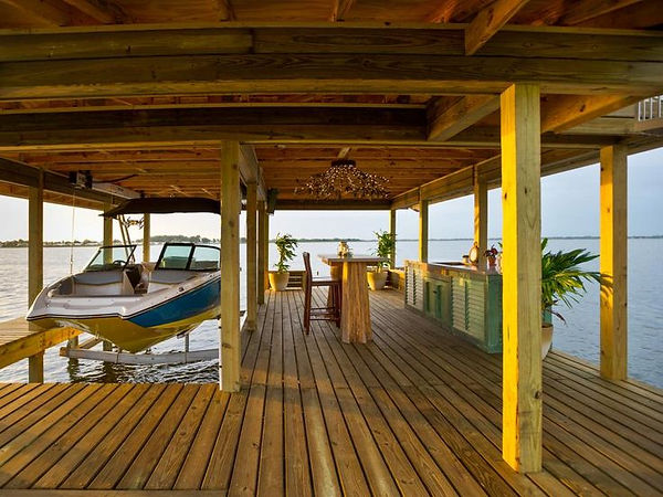 Two Story Boat Dock with Boat Lift and Kitchen