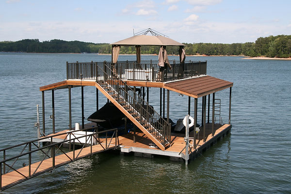 Two Story Boat Dock with Stairs and Railings