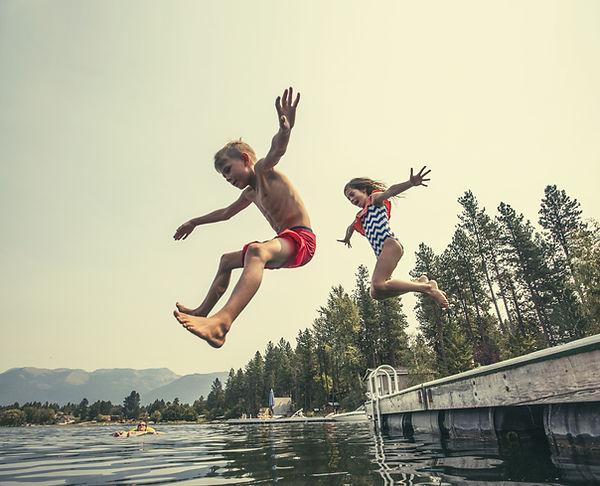 Kids on Lake Water Docks