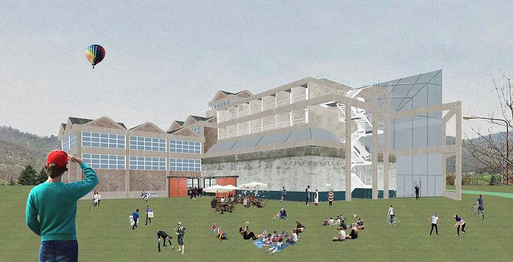 Perspectiva ilustrativa da fachada dos fundos - concurso Green Academy